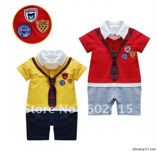 kmbaby academic style logo tie Cotton Romper climbing clothing style  3pcs