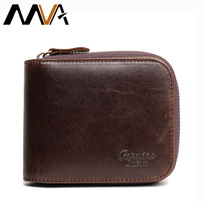 MVA Card Holder Purse Men Wallet Short Vintage Genuine Leather Men Organizer Wallets Leather Wallet Brand Male Coin Purse New aim men short wallets 100% genuine cow leather wallet men famous brand knitting design card holder men s biford coin purse a293