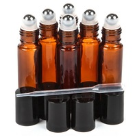 6pcs Amber 10ml Glass Roll On Bottles With Stainless Steel Roller Balls Perfect For Essential Oils