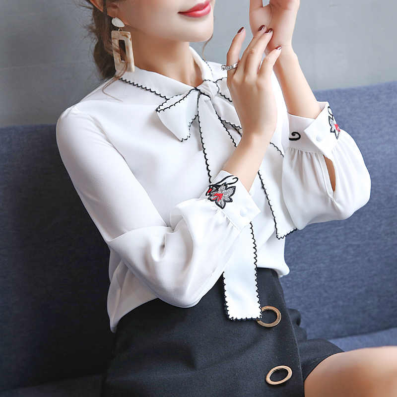fashion women blouses long sleeve women shirt chiffon blouse shirt office work wear white blouse womens tops and blouses 0726 60
