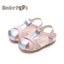 2017 New Babyfeet Fashion Baby Girls Sandals Infant Toddler Cute Pink Purple Anti-slip Soft Sole Shoes Breathable Summer Casual