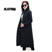 Women Coat new long section Jacket women's singles breasted collar thin fashion models Slim Down coat female Knee long section