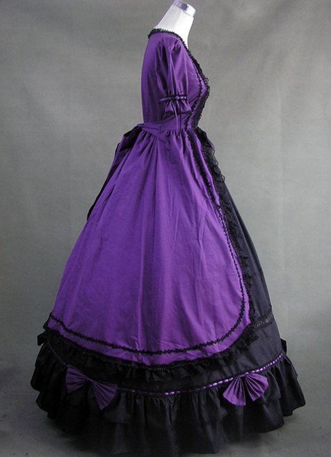 18th Century Victorian Purple And Black Cotton Gothic Dress In