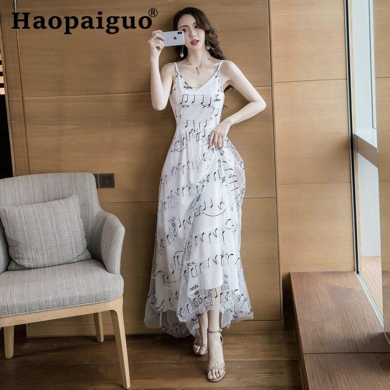 Plus Size Big Swing Long Party Dress Women Print Music Symbol Slim Korean Dress Women Spaghetti