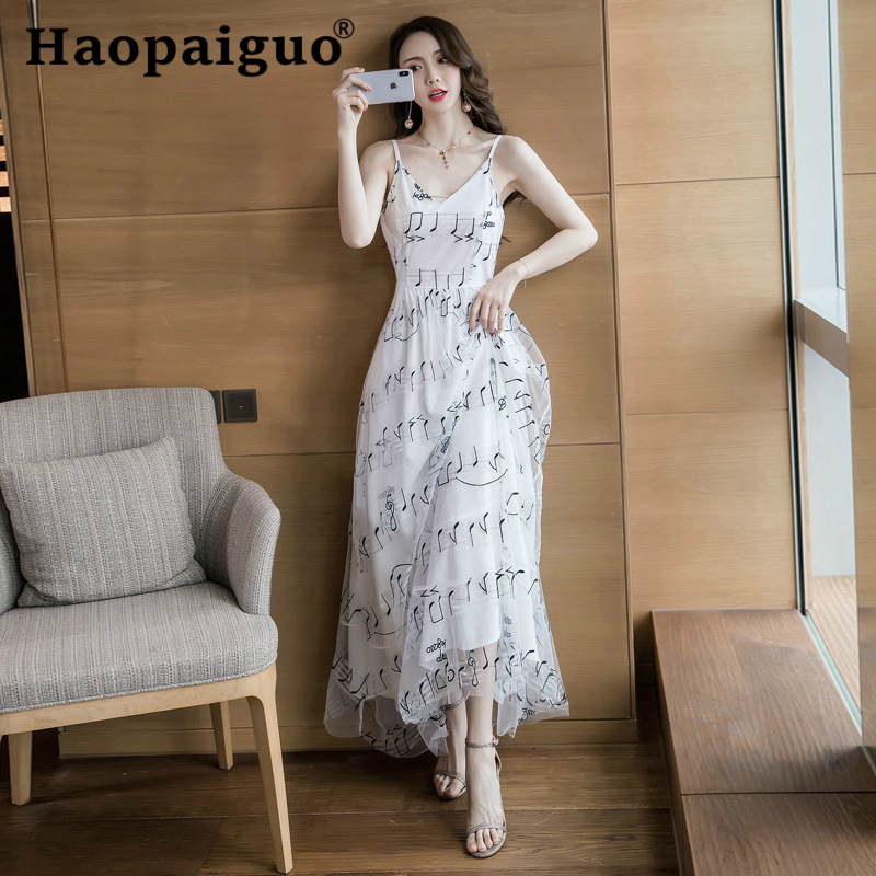 Plus Size Big Swing Long Party Dress Women Print Music Symbol Slim Korean Dress Women Spaghetti Strap White Summer Dress 2019