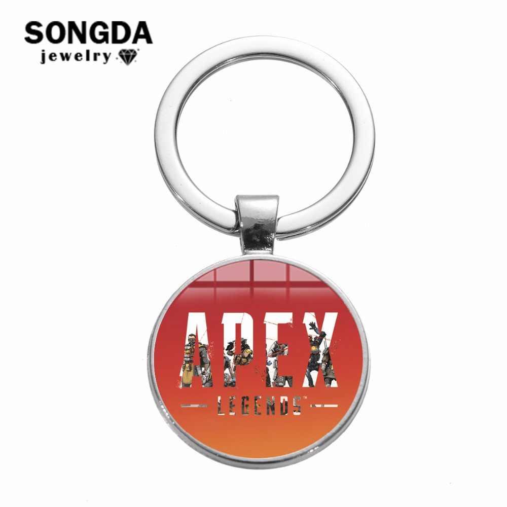 Songda apex伝説キーホルダーファッションロゴ印刷ガラスカボションキーリングホットゲーム男性オートバイ車のキーチェーンホルダーお土産
