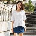 Veri Gude de verão das mulheres camisa branca meia manga Ruffle blusas Cool bordados tecido