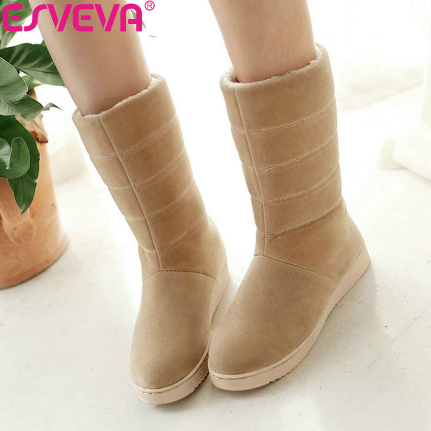ESVEVA 2019 Woman Boots Handmade Low Heels Winter Shoes Boots Women Mid-calf Boots Snow Shoes Round Toe Platform 2cm Size 34-40