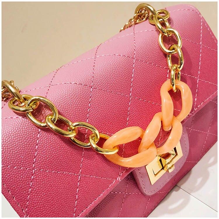 Luxury Women Classic handbag Designer Pink Blue Gradient PU Leather Lingge Shoulder Bag (12)