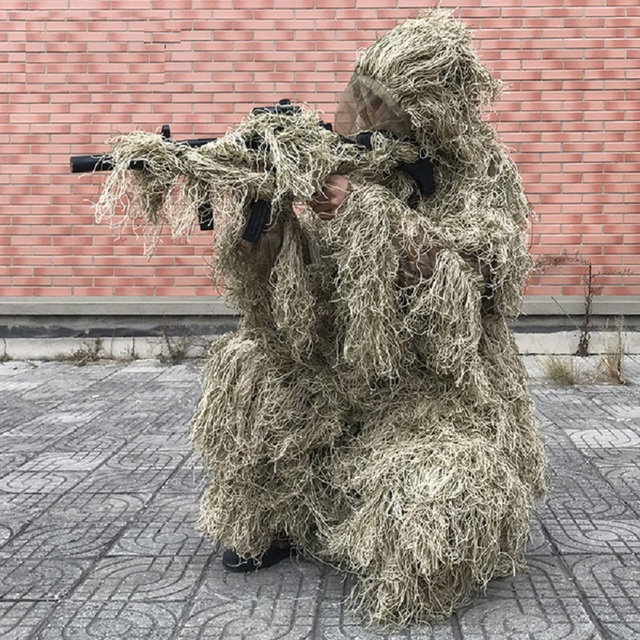 3D Withered Grass Ghillie Suit 4 PCS Sniper Military Tactical Camouflage Clothing Hunting Suit Army Hunting Clothes Birding Suit 2
