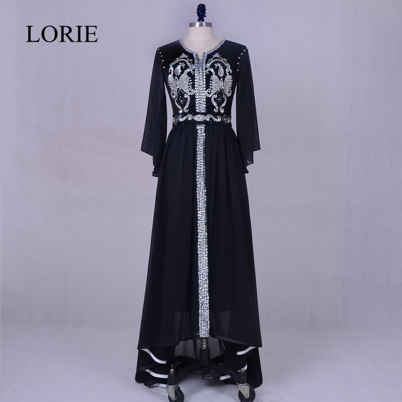 Arabic Women Evening Party Dress Long 2018 Black Muslim Long Sleeve Bling Prom Dresses Dubai Kaftan Formal Evening Gowns Dresses