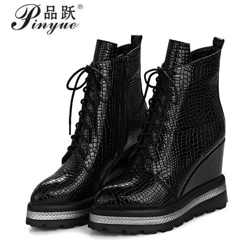 Winter Women Ankle Boots Platform Wedge Boots Zip High Heel Boots 2018 Autumn Female Shoes Black