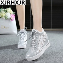 XJRHXJR Summer Women Shoes Casual Cutouts Lace Canvas Hollow Floral Breathable Platform Flat Shoe White Sliver