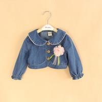 5pcs/lot Wholesale Baby Girls Cute Denim Coat Girls Denim Shawl With Flower Kids Short Style Denim Outerwear Jacket
