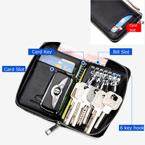 Image 3 - بيسون الدنيم جلد طبيعي مفتاح المحفظة الذكور بطاقة المفاتيح غطاء سستة حامل بطاقة محفظة مفاتيح المنظم سعة كبيرة N9462