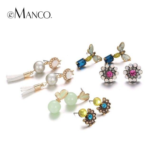 eManco multicolor acrylic earring sets water beads crystal flower pearl  enamel earring series natural women jewelry joyeria