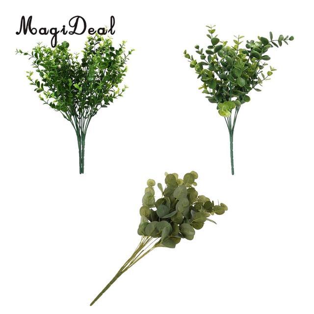 3 pieces plastic eucalyptus leaves bushes simulation greenery plants