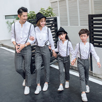 2018 Family Set Linen Tops+Overall Pants 2pcs Family Matching Outfits Fashion Family Style Set Autumn Family Clothing Sets WL
