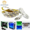 5 V USB LED de la Tira SMD3528 50 CM 1 M 2 M 3 M USB tira de TELEVISIÓN de Fondo de Alto Brillo de la Iluminación Interior No Impermeable Casa decoración