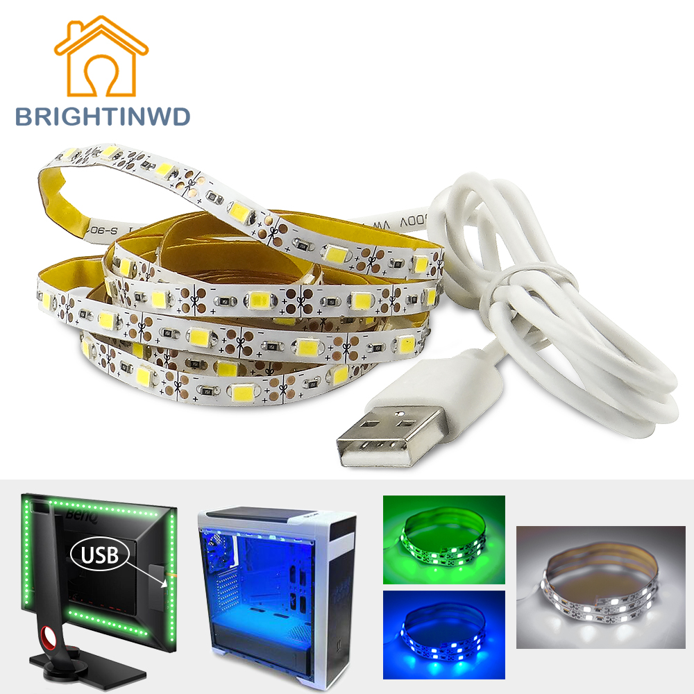 5V LED USB Strip 50 CM 1M 2M 3M USB Strip TV Iluminación de fondo de alto brillo para la decoración interior del hogar