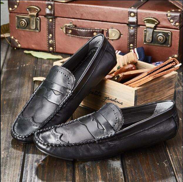 Slip-On Flats Men's Casual Shoes Genuine Leather Spring Summer New Wrinkle Loafers Dress Male Driving Shoes Moccasin Gommino tassel casual loafers men shoes genuine leather flat anti skid driving moccasin slip on spring new black white sperry shoes male