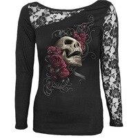 High Street t-shirt Vrouwen Skull Print Kant Borduren Patchwork Sexy Vrouwen Tops t-shirt Lange Mouw S-XXL C79202