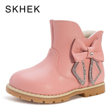SKHEK Kids Rain Winter Girl Boots Shoes Baby For  Boys Leather Non-Slip Warm Fashion Trend Of G3356