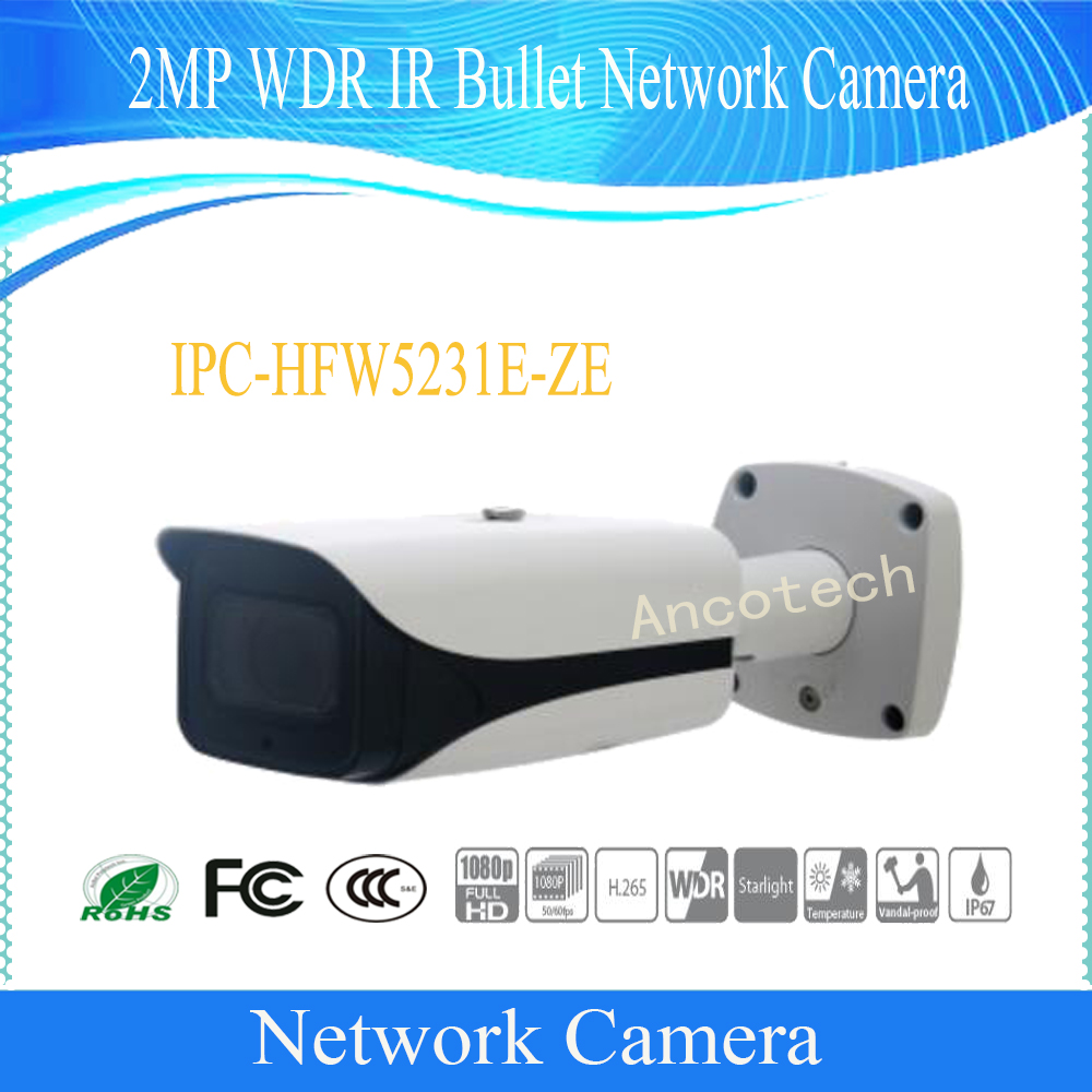 Free Shipping DAHUA Security IP Camera 2MP WDR IR Bullet Network Camera with POE without Logo IPC-HFW5231E-ZE free shipping dahua cctv security ip camera 3mp wdr ir bullet network camera ip67 ik10 with poe without logo ipc hfw8331e z5