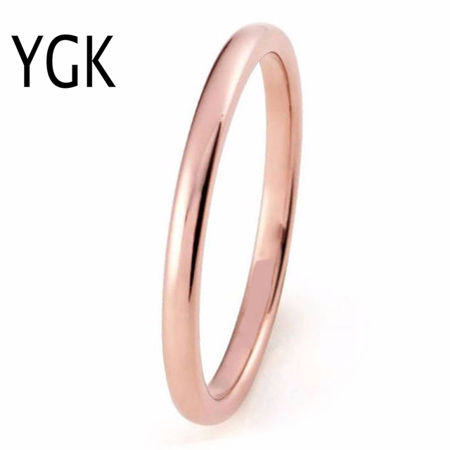 Ygk Brand Jewelry 2mm Rose Gold Color Domed Plain Tungsten Carbide Ring Mens Wedding Band