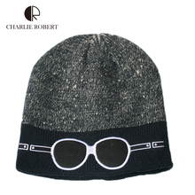 Winter Fashion Beanies Knit Men's Caps Warm Solid Casual Hats Glasses Pattern Men's Outdoor Caps European Style Beanies Caps