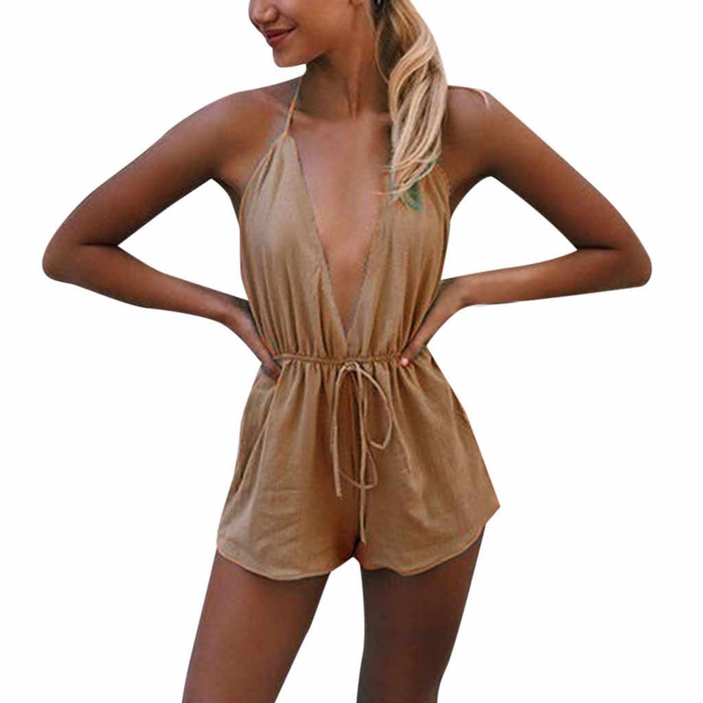 Playsuit Sexy Mujer verano liso sin mangas cuello en V profundo sin espalda lazo Up Mono corto monos Mujer
