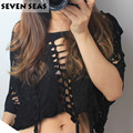 Tassel Sexy Crop Top Ripped Tee shirt Night Club Distressed T Shirts with Hole Dance Clubwear