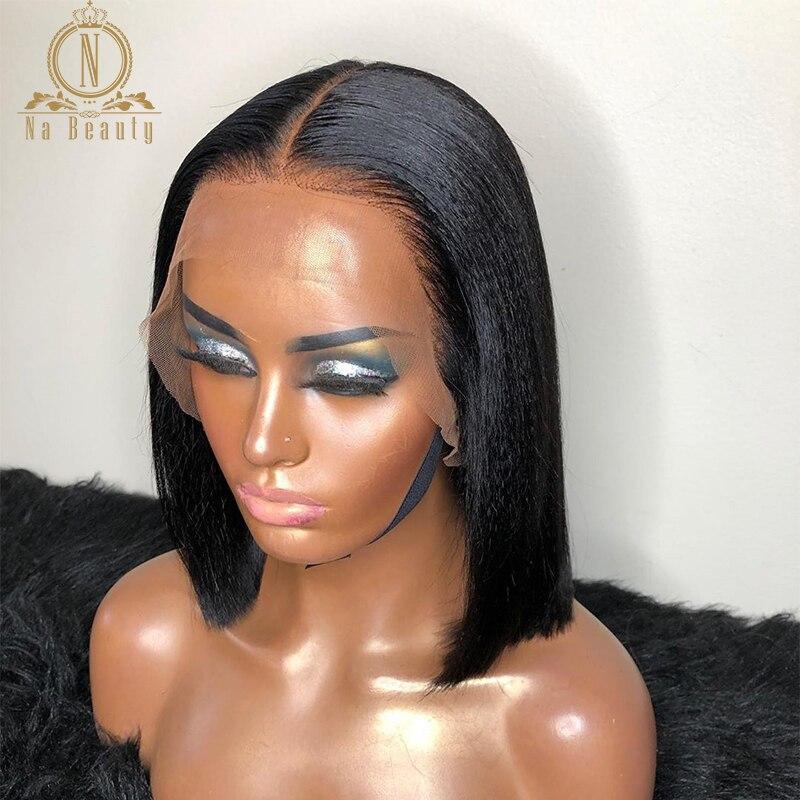 Yaki Short Bob Lace Front Human Hair Wigs Pre Plucked Yaki Straight 150% Density 13x6 Deep Part Frontal Remy Brazilian Hair