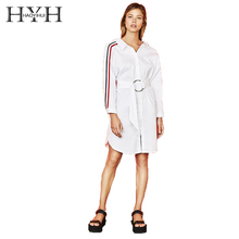 HYH HAOYIHUI 2018 Autumn Simple Sleeve Contrast Stripe Stitching Metal Ring Lace Casual Shirt Dress pink stitching stripe pattern t shirt with contrast color