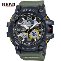 READ Watches Round Dial Large Digital Scale Buckle Relogio Men Gray Wristwatch
