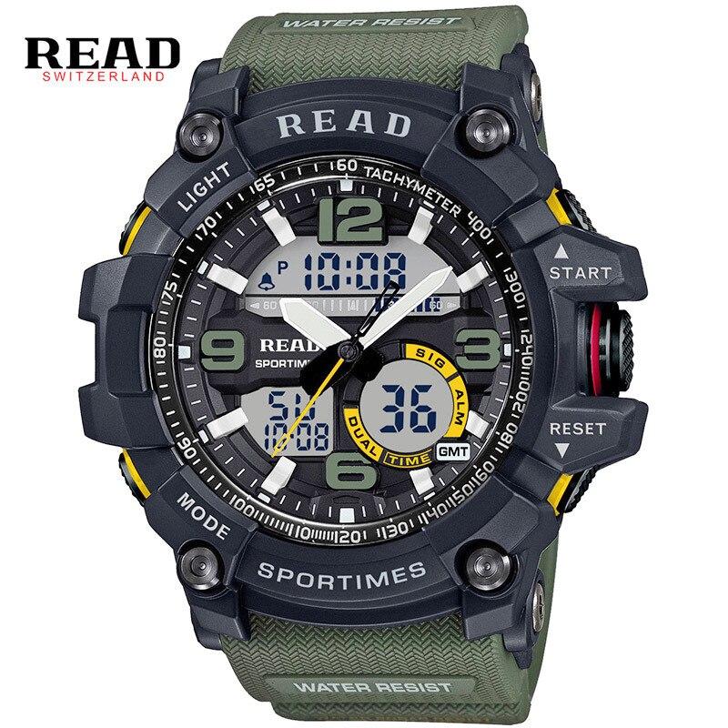 Leer Deporte Militar relojes hombres Dial grande escala relogio reloj para hombre silicona Correa alarma pantalla dual sport Activity Tracker