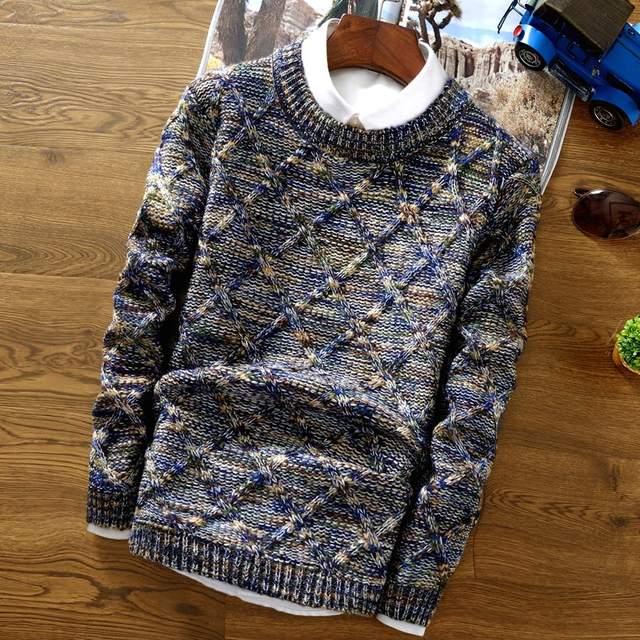 placeholder Nueva moda 2017 suéter de Navidad para hombre Casual ajustado  ropa de manga larga suéteres tejidos 2bab30d5558b