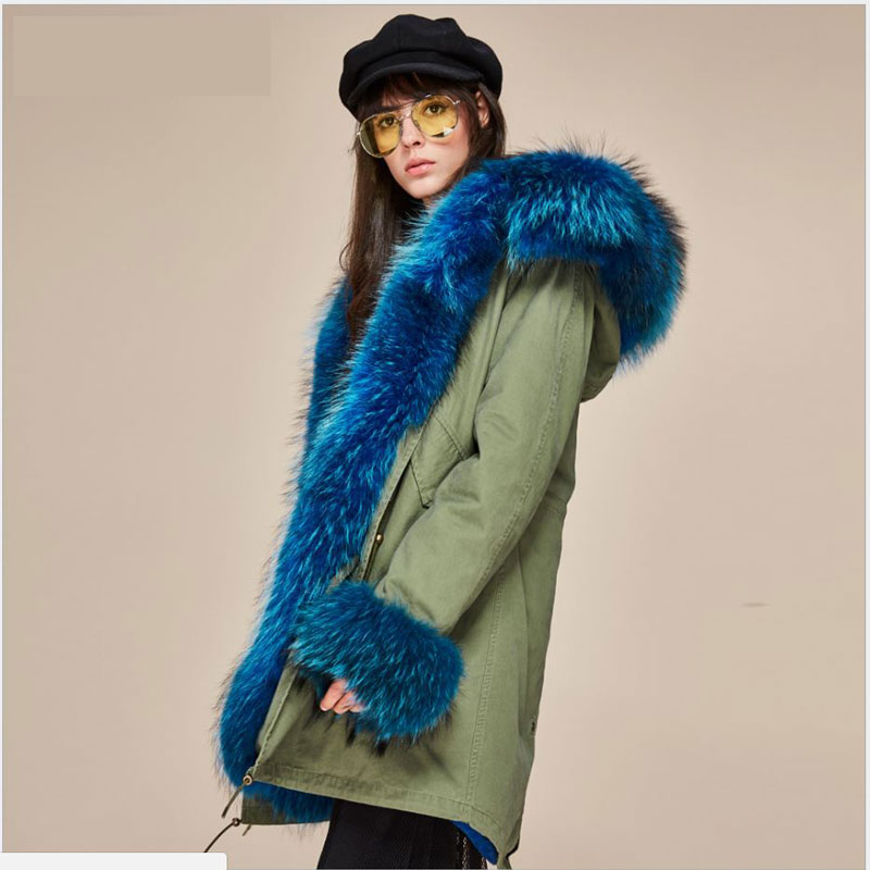 2017 New Fashion Women's Large Raccoon Fur Collar Cuff Hooded Coat Luxury Parkas Warm Outwear Long Winter Jacket Outwear Brand 2017 winter new clothes to overcome the coat of women in the long reed rabbit hair fur fur coat fox raccoon fur collar