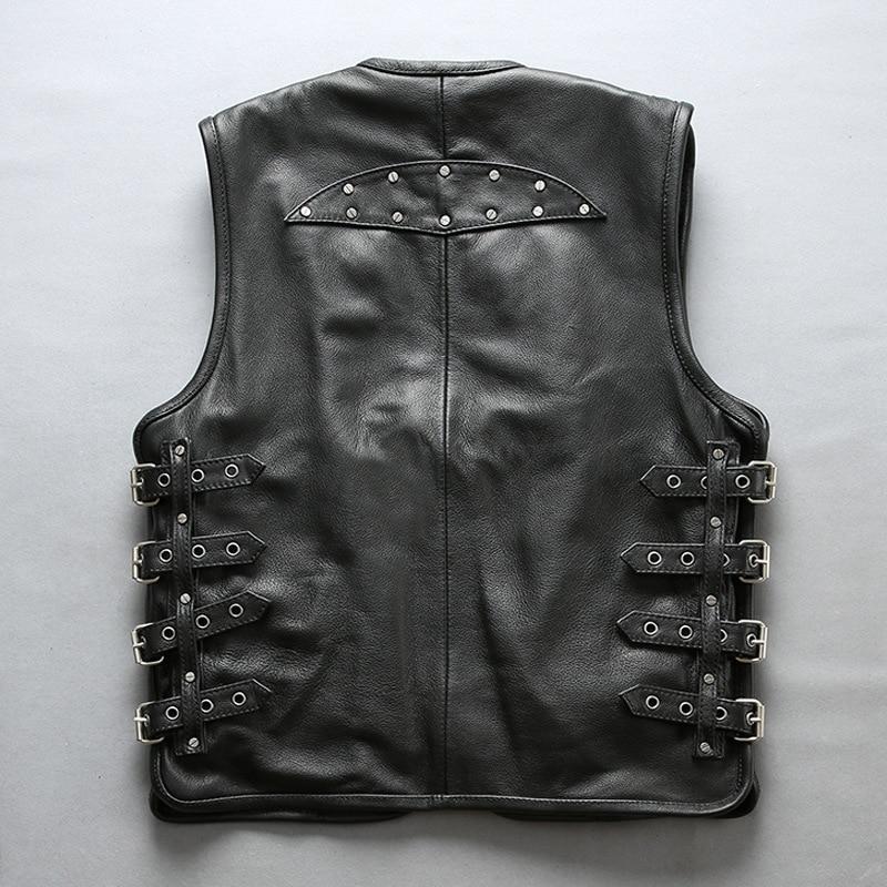 Men Genuine Luxury Leather Sleeveless Black Shirt Jacket