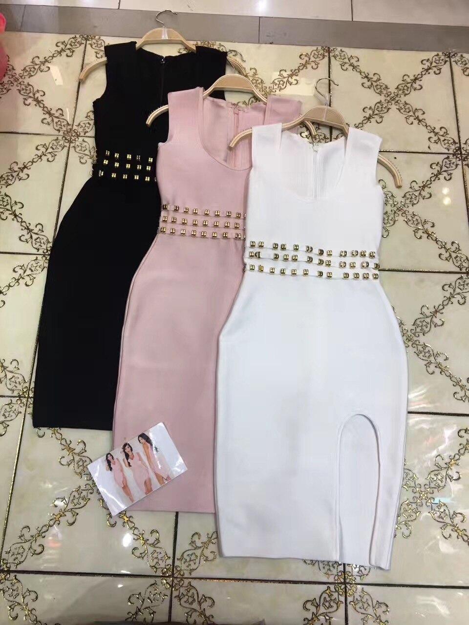 Haute Clouté Bandage Rayonne Rose Femmes Blanc Dames Découpe Moulante Manches Qualité Fond Robe Noir Sexy Sans Perle AqL35j4R