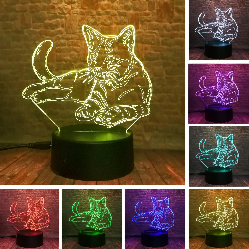 Cute 3D Cosy Lying Down Leisure Cat LED Night Light USB Touch 7 Colorful Light Children Bedroom Lamp Baby Kids Xmas Party Gifts