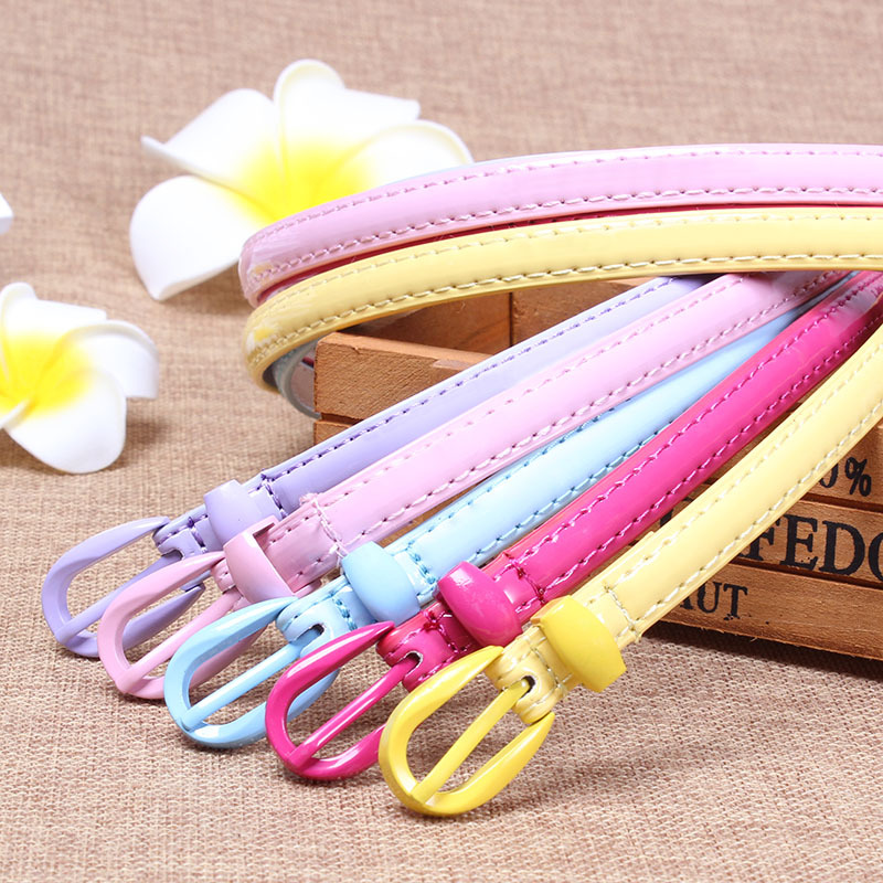 2019 Candy Color Shiny PU Leather Waist Belt For Women Black Red Pink Narrow Thin Belts Waistband Pin Buckle Straps For Dress