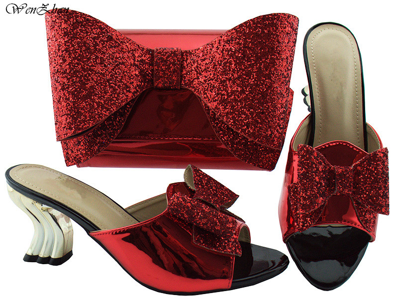 Italian shoes match bag set with shining paillette butterfly-knot 2018latest red fashion shoes with bag for wedding party B85-15Italian shoes match bag set with shining paillette butterfly-knot 2018latest red fashion shoes with bag for wedding party B85-15