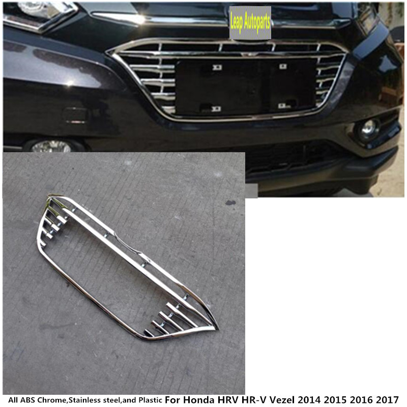 *Widen*Car styling protection ABS chrome trim Front up Grid Grill Grille Around For Honda HR-V HRV vezel 2014 2015 2016 2017 racing grills version aluminum alloy car styling refit grille air intake grid radiator grill for kla k5 2012 14