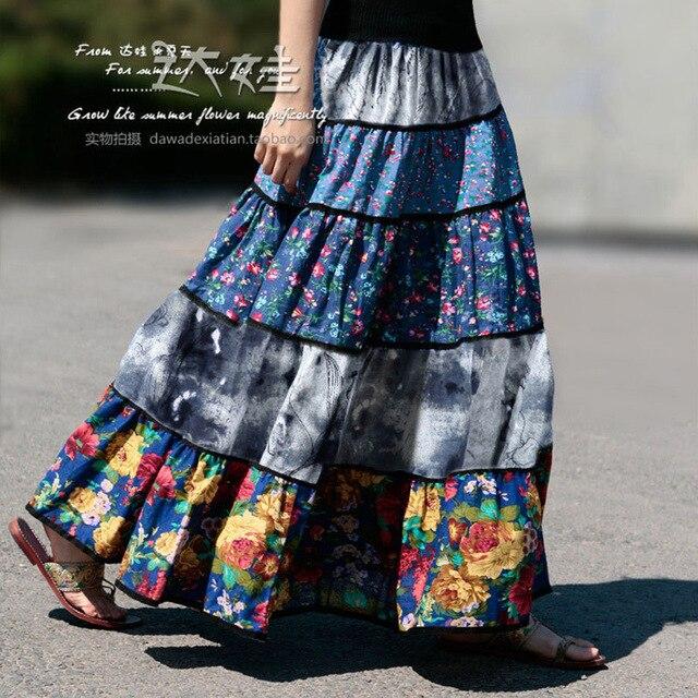 Mujer del verano faldas 2015 nueva moda patchwork estampado floral boho del estilo 50 s saias vintage femininas A-0050