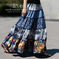 Woman Summer skirts 2015 new fashion linen floral print patchwork boho style 50s vintage saias femininas A-0050