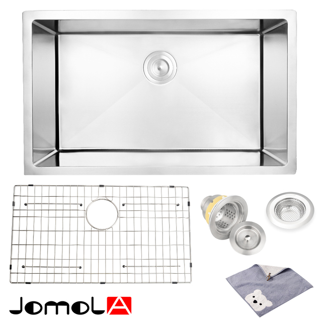 JOMOLA Kitchen Sink Stainless Steel Single Bowl 16 Gauge Undermount 30 Inch  Vegetable Washing Basin Groove