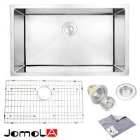 JOMOLA Kitchen Sink Stainless Steel Single Bowl 16 Gauge Undermount 30 Inch vegetable washing basin groove