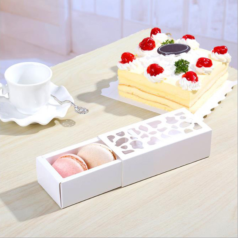 5pcs White Hollow Macarons Box Cookie Package Baking Small Cake Box for Chocolate Muffin Biscuits Luxury Wedding Party Decor