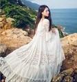 2017 Новая Коллекция Весна Мода Flare Рукавом Длинные Белые Кружева Dress О Шея Свободные Длина Пола Dress женская Элегантный Пляж Dress